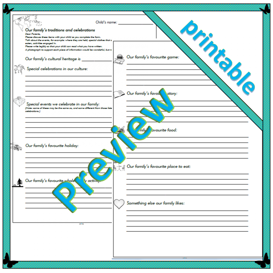 Family traditions and celebrations - parent sheets - printable preview
