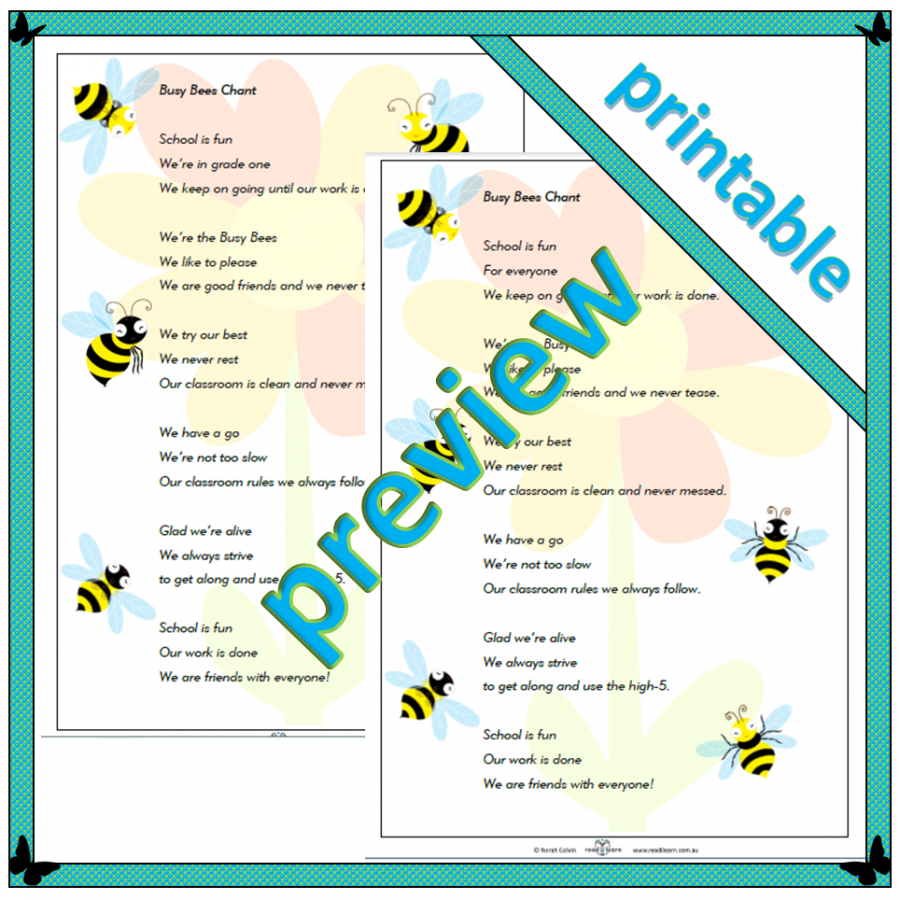 busy bee chants about being happy about being in grade one, can be adapted to other year levels