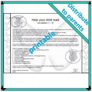 a series of ten newsletter for distribution to parents to provide them with information about helping their child with reading
