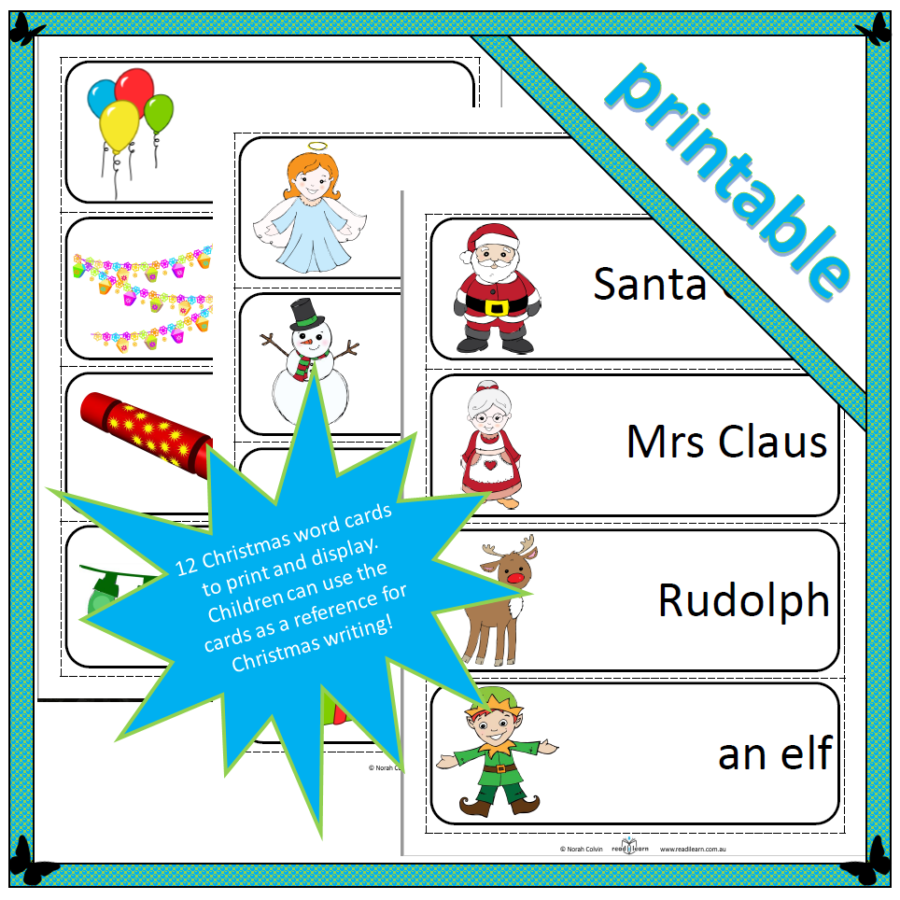 a set of thematic word cards about Christmas