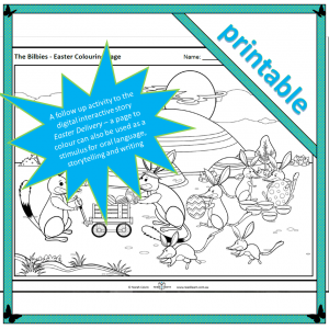 the bilbies Easter colouring page