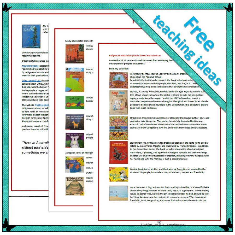 Indigenous Australian picture books and resources - a free printable list to download