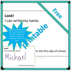 activity asking children to show how they can write their name on the first day of school