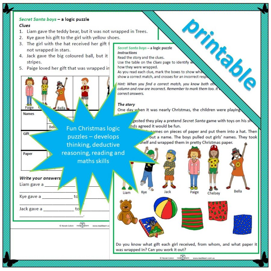 logic puzzles Christmas lower primary