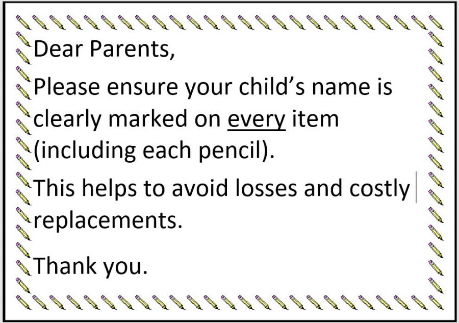 parents write children's name on every item