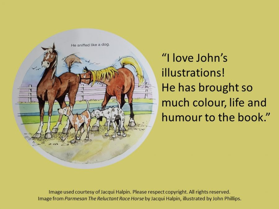 Jacqui Halpin's quote re John Phillip's illustrations