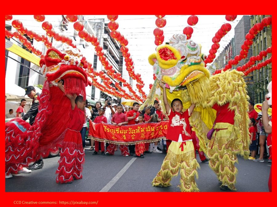 celebrating Chinese New Year Lion Dance