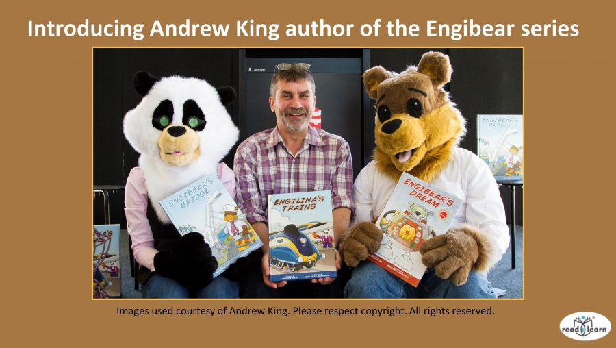 Andrew King author of the Engibear series with Engibear and Engilina
