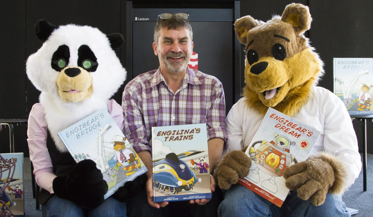 Andrew King author of the Engibear Series with Enibear and Engilina