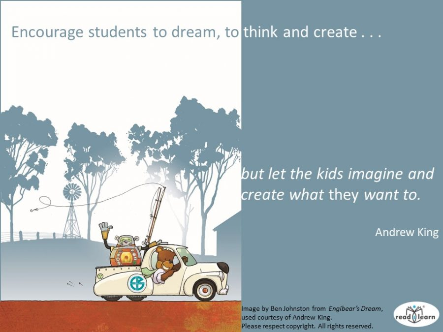 Andrew King author of the Engibear Series tells students to dream think and create