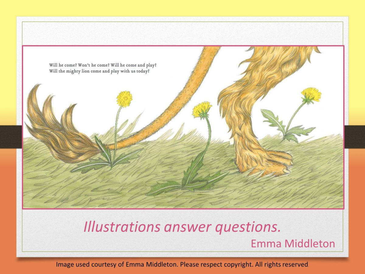 Illustrations answer questions in Emma Middleton's The Lion in our Living Room