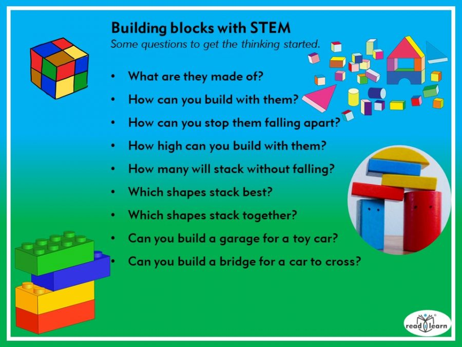 Building blocks with STEM, questions to stimulate STEM thinking when using blocks