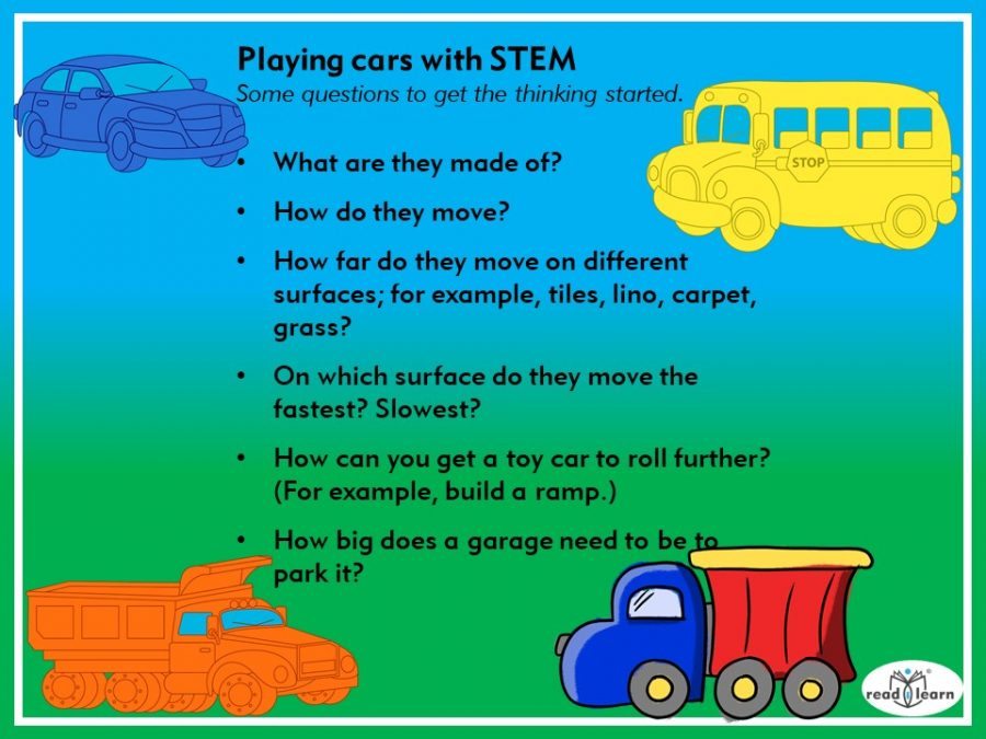 Playing cars with STEM, questions to stimulate STEM thinking when playing with cars
