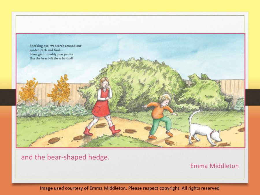 the bear-shaped hedge in Emma Middleton's picture book The Bear in our Backyard