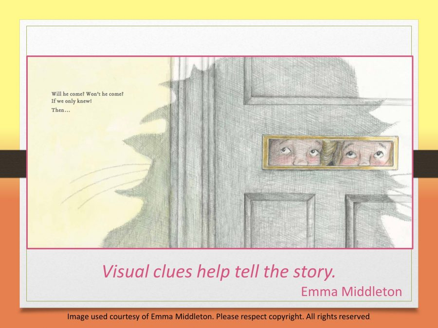 visual clues help to tell the story in Emma Middleton's picture book The Bear in our Backyard