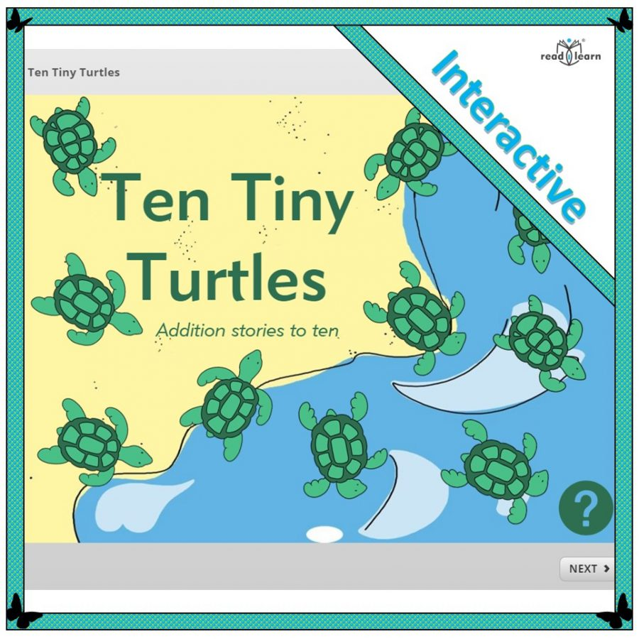 Ten Tiny Turtles a lesson in addition to ten for the interactive whiteboard