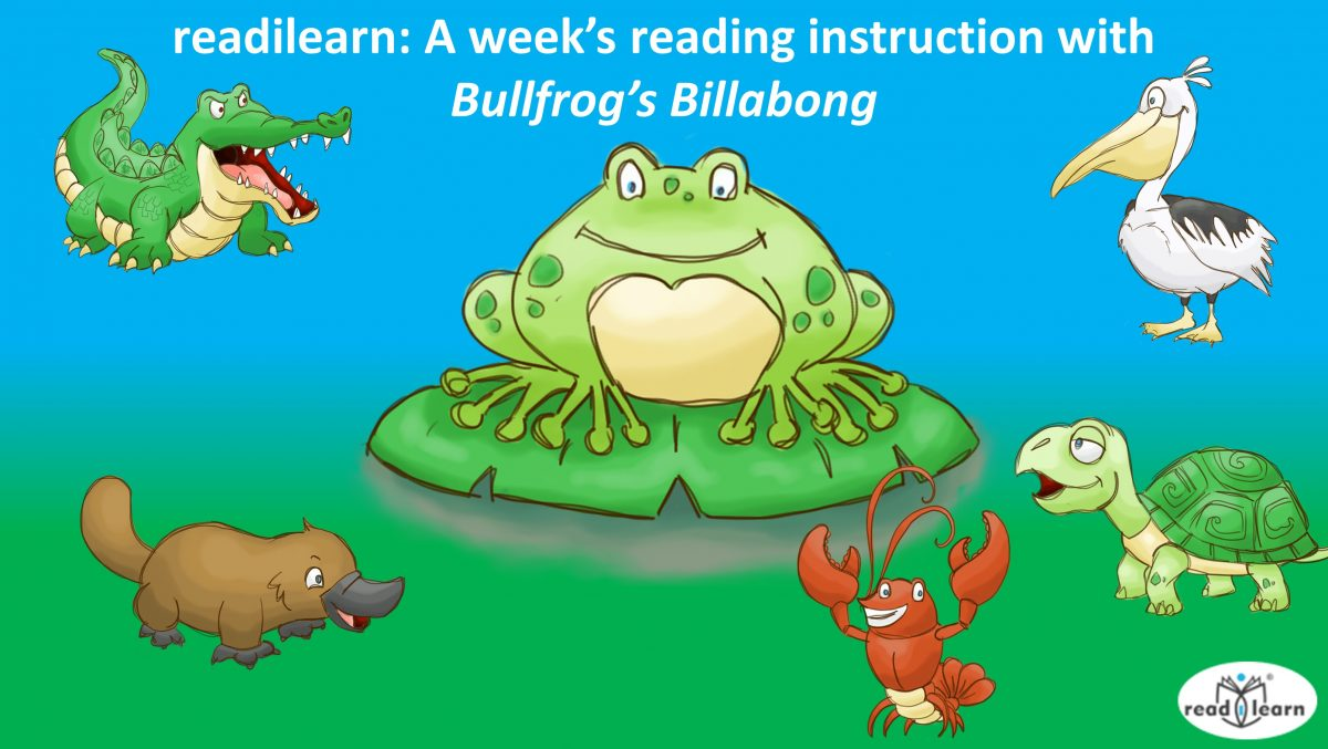 Teaching reading using covered cloze, guided reading, performing a play, sequencing days of the week with the Bullfrog's Billabong suite of resources from readilearn