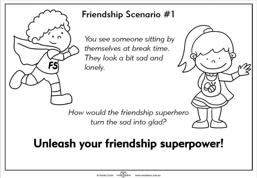 friendship scenario for discussing friendship skills and what a friendship superhero would do