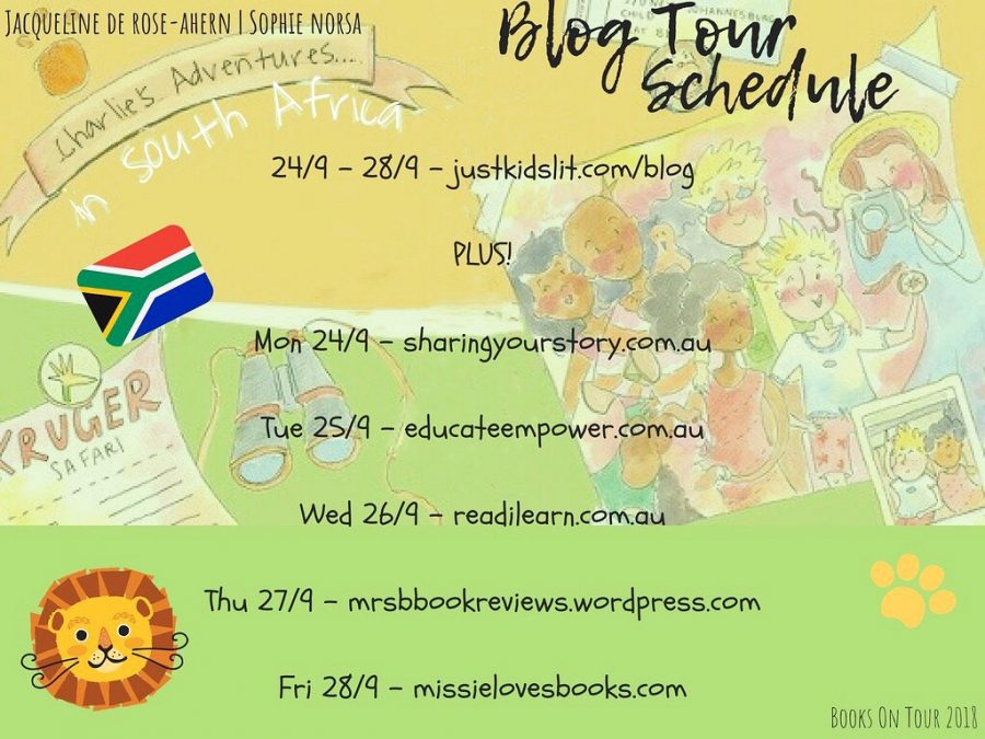 Books on Tour schedule for Charlie's Adventures in South Africa by Jacqueline de Rose-Ahern