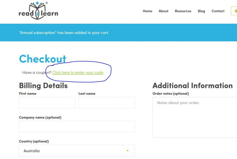 showing readilearn subscribers where to use the coupon code