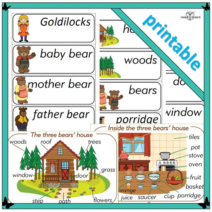 printable word cards with a Goldilocks and the three bears theme