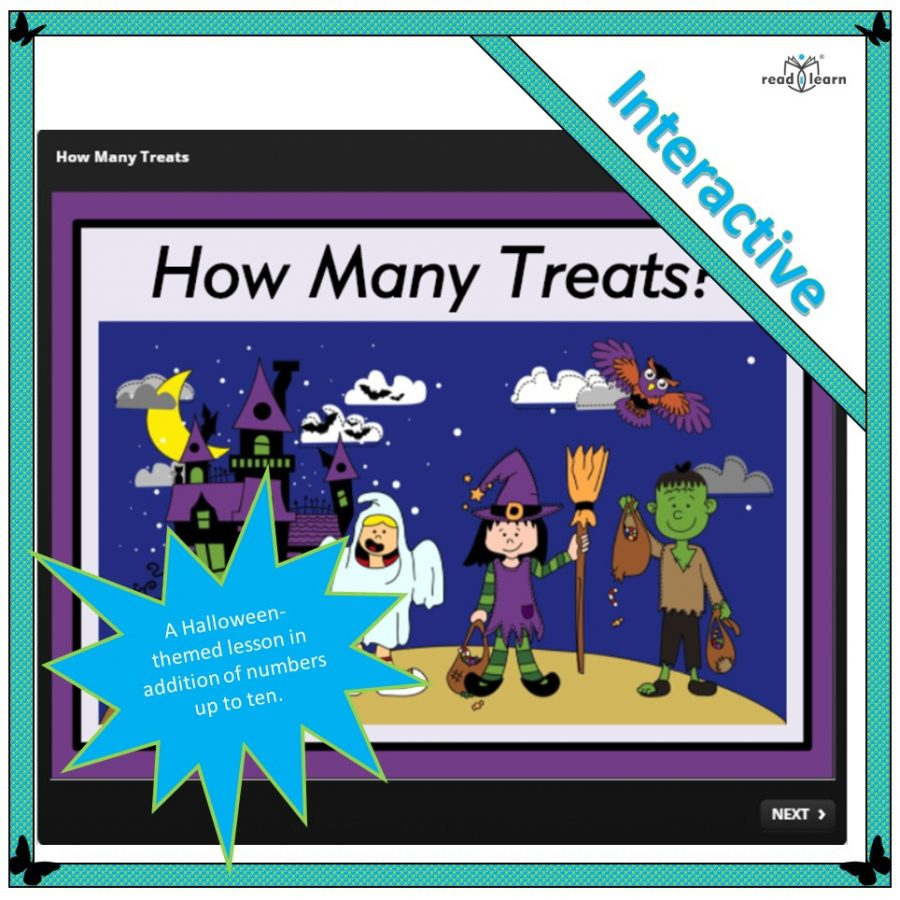Halloween themed addition lesson using numbers to ten for the interactive whiteboard
