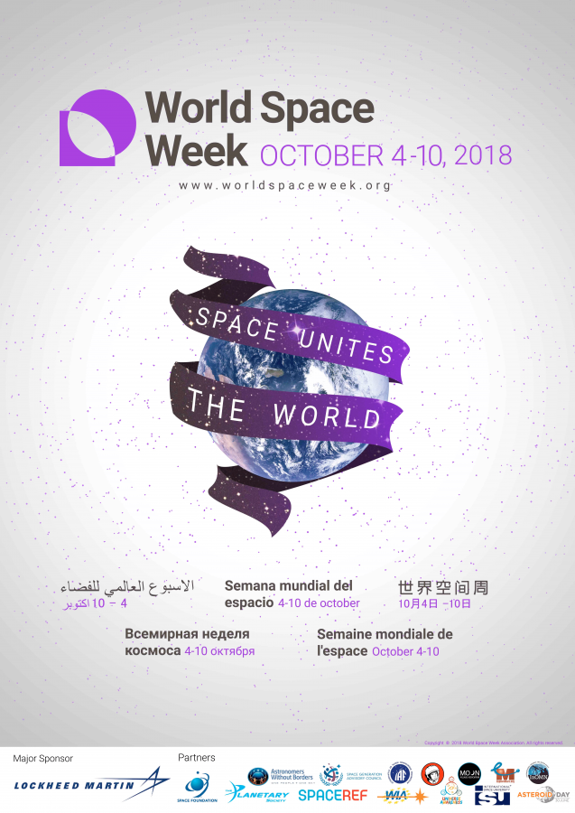 World Space Week poster 2018 Space Unites our World