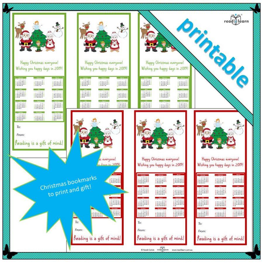 2019 calendar bookmarks to print and gift