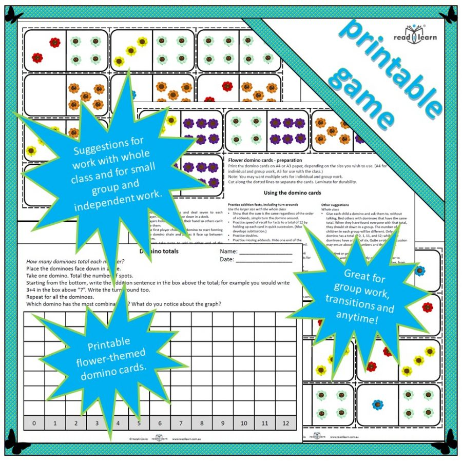 flower domino cards for developing understanding of number